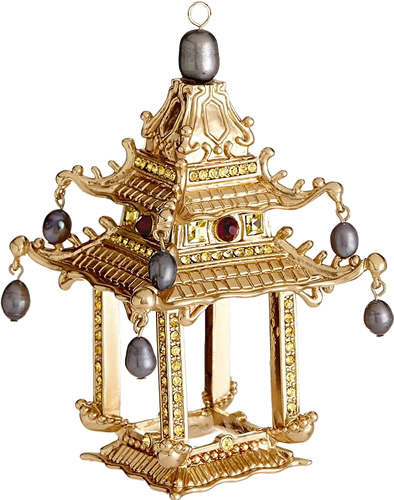 L'Objet Pagoda Ornaments in 24K gold with gold Swarovski crystals, grey freshwater pearls and hand-set garnets