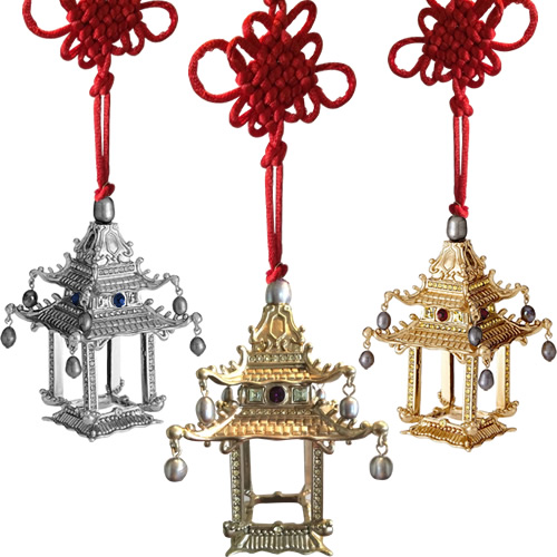 L'Objet Pagoda Ornaments in hand-crafted and layered in 24K gold and platinum with Swarovski crystals, freshwater pearls and hand-set semi-precious gemstones