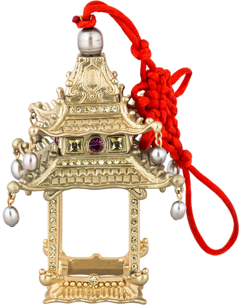 L'Objet Pagoda Ornament hand-crafted and layered in 24K gold with Swarovski crystals, freshwater pearls and hand-set semi-precious gemstones