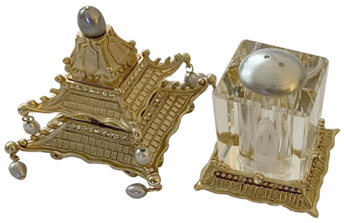 L'Objet Pagoda Spice Jewels Salt and Pepper Shakers have hand blown faceted crystal