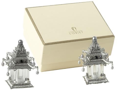 L'Objet SP6500 Platinum Pagoda Spice Jewels Salt and Pepper Shakers in Presentation Gift Box