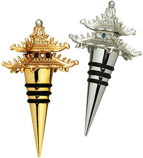 L'Objet Pagoda Wine Stoppers in Platinum or Gold with faceted Swarovski crystals and hand-set semi-precious gemstones