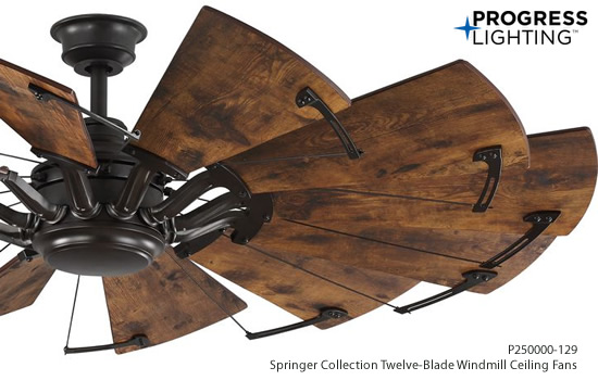 Progress Lighting P250000-129 Springer Collection Twelve-Blade Windmill Ceiling Fan in Bronze finish and Distressed Walnut blades