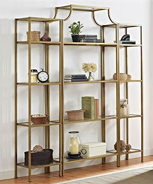 Pemberly Row Antique Gold Pagoda Etagere with matching shelves for either side