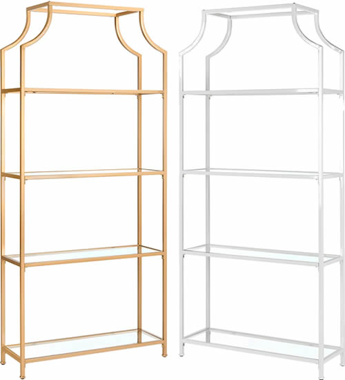 """The Safavieh Home Collection Slater 4 Tier Etageres are wider and taller, 36"""" wide, 80"""" high. But it is not as deep. The etagere is 12"""" deep and each shelf is 10"""" deep. It available in gold matte metallic paint or matte white."""