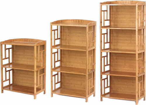Bamboo Shelves with Chinese Characters and Lattice Sides come in 9 different sizes