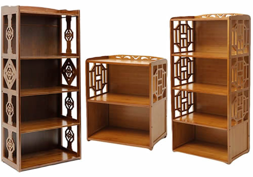Bamboo Shelves with Lattice Sides