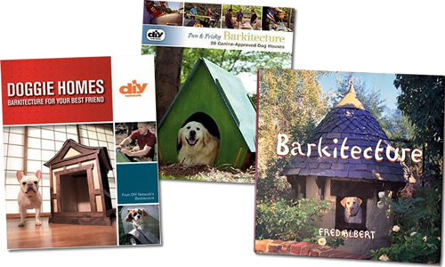 DIY Doggie Homes: Barkitecture for Your Best Friend Paperback by Matthew Klarich and Jeff Woods DIY Fun & Frisky Barkitecture, 20 Canine-Approved Dog Houses by Dawn Cusick Barkitecture: The Ultimate Guide by Fred Albert