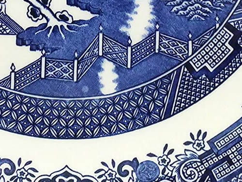 Lattice Fence on Blue Willow Plate