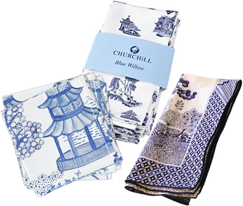 Roostery Pagoda Forest in Blues Cloth Cocktail Napkins, Churchill Blue Willow Cloth Napkins, Royal Linens Johnson Brothers Blue Willow Cloth Napkin