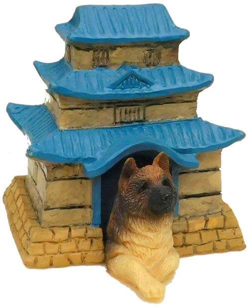 Barkitecture International Dog House Collectibles A107 Japanese Pagoda and Akita The ancient Japanese Pagoda houses the Akita who represents health, happiness, and long live. Handmade in San Diego CA USA by Sandicast US and Foreign 1993 BRUE