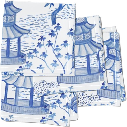 Roostery Pagoda Forest in Blues Cloth Cocktail Napkins