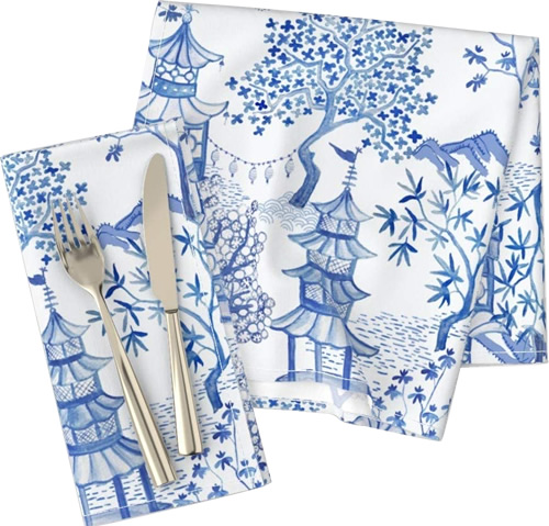 Roostery Pagoda Forest in Blues Cloth Dinner Napkins