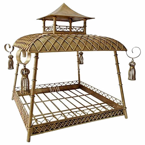 Bronze and Iron Pagoda Pet Bed with Tassels