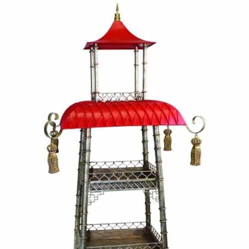 Bronze and Iron Pagoda Shelf with Tassels