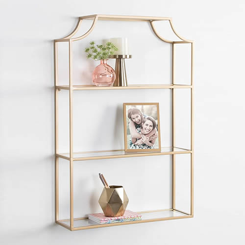 Kate and Laurel Ciel Glam 3-Tier Scalloped Pagoda Style Wall Shelf in Gold
