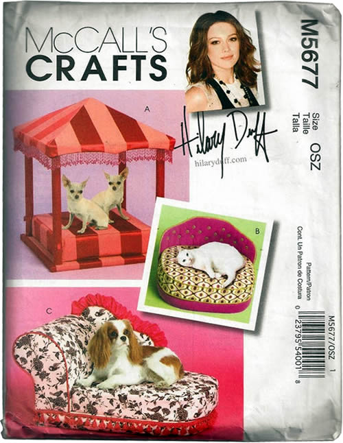 McCall's Crafts Pattern M5677 from the Hillary Duff Collection includes a pattern to make a Pagoda Pet Bed, Pet Sofa and Pet Chaise Lounge