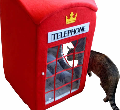 Red London Phone Booth Pet Bed for Cats or Small Dogs