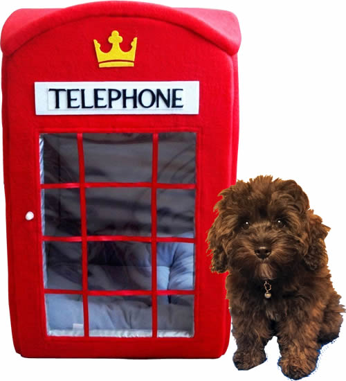 Red British Phone Booth Pet Bed for Cats or Small Dogs