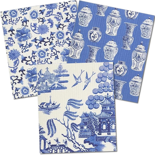 Two's Company Blue Willow Eco-Friendly Reusable Kitchen Cloths