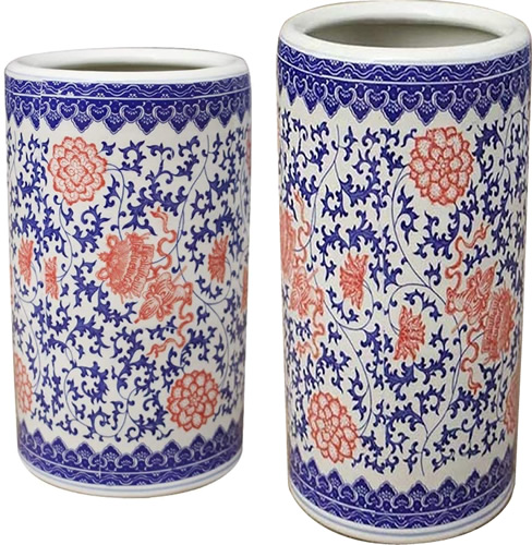 Orange, Blue and White Chinoiserie Floral Umbrella Stands