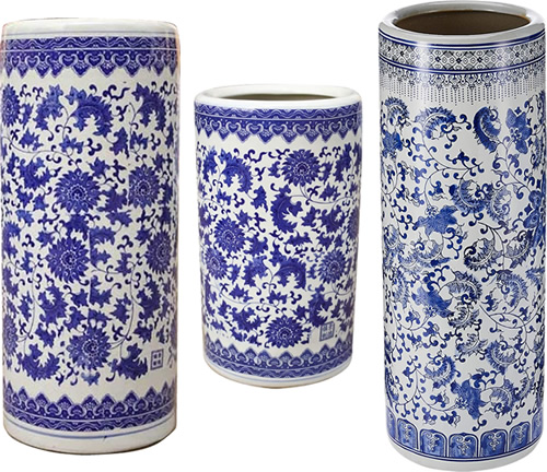 Blue and White Chinoiserie Floral Umbrella Stands