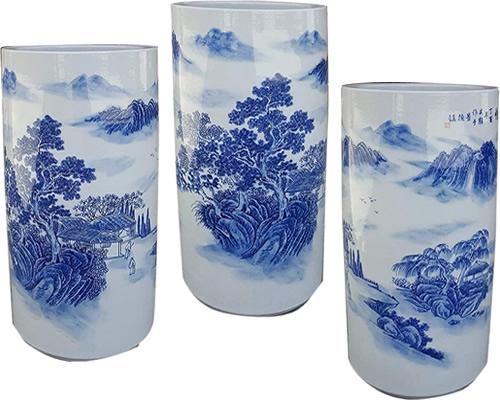 Blue & White Porcelain Landscape Umbrella Stand