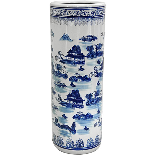 Blue Willow Pagoda Umbrella Stand