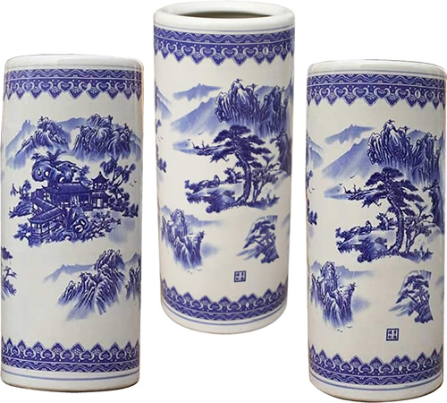 Blue and White Chinoiserie Landscape Umbrella Stands