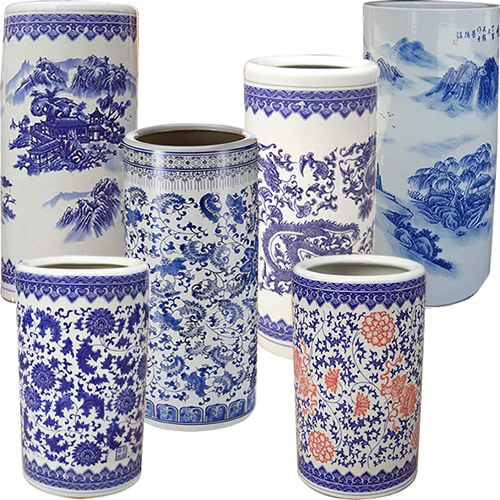 Blue and White Chinoiserie Umbrella Stands