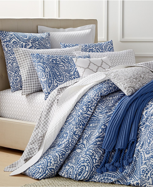 Charter Club Denim Blue and White Damask Designs Paisley Bedding