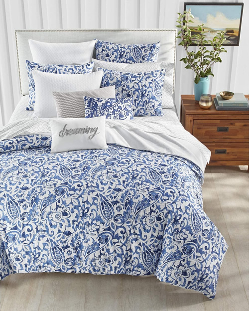 Charter Club Damask Designs Paisley Bedding in Classic Denim Blue and White