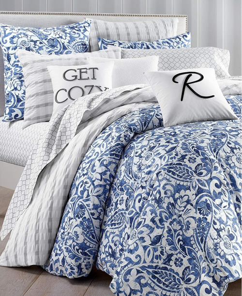 Charter Club Damask Designs Paisley Denim Bedding Collection includes Mix and Match Coordinates