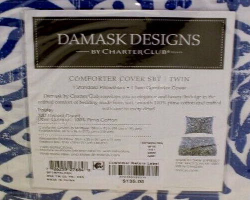 Charter Club Damask Designs Paisley Twin Comforter Cover Set in Denim Blue