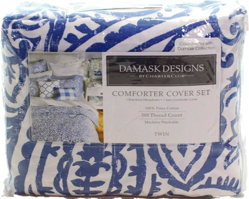 Charter Club Damask Designs Paisley Comforter Cover Set in Denim Blue