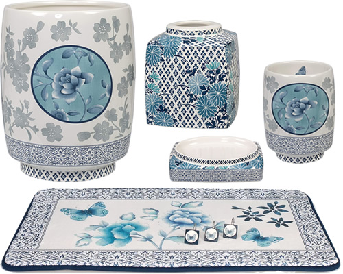 Creative Bath Ming Bath Collection Ming Waste Basket Ming Tissue Box Cover Ming Soap Dish and Tumbler Ming Bath Rug