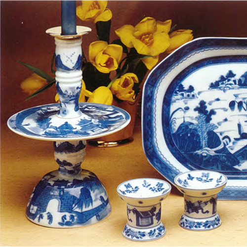 Mottahedeh Blue Canton Bell Candlestick, Small Platter and Salt and Pepper Set