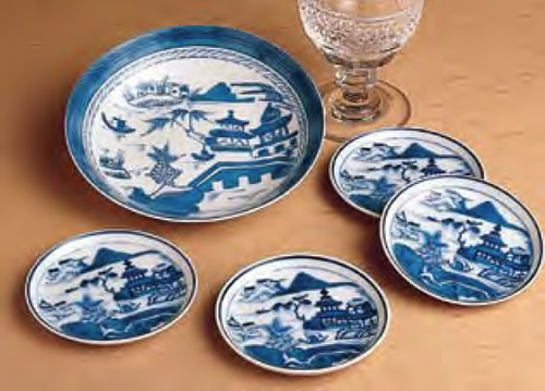 Mottahedeh Blue Canton Fruit Saucer and Set of 4 Coasters