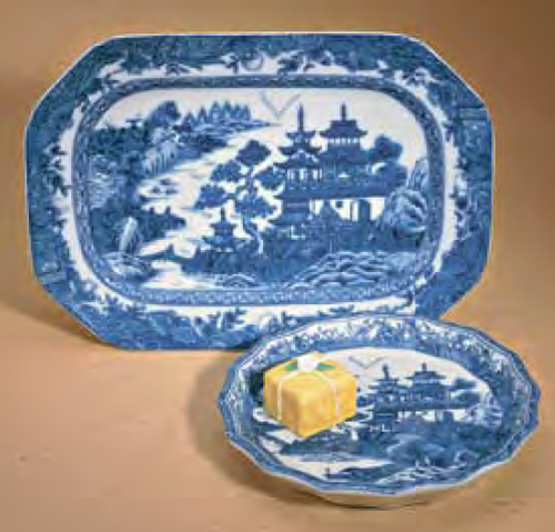 Mottahedeh Blue Canton Cookie Plate and Candy Dish