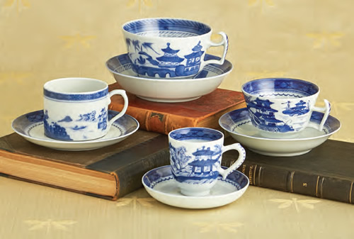 Mottahedeh Blue Canton Large Cup and Saucer, Can Cup and Saucer, Tea Cup and Saucer, Demitasse Cup and Saucer
