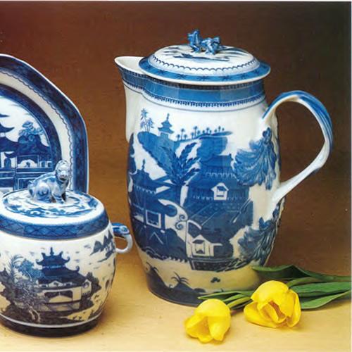 Mottahedeh Blue Canton Fu Dog Jar and Cider Jug with Lid