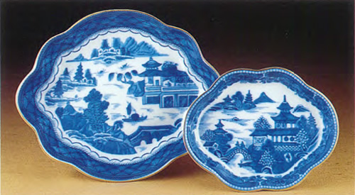 Mottahedeh Blue Canton Small and Medium Lobed Trays