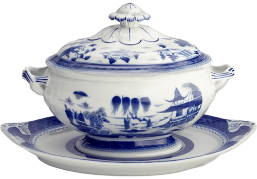 Mottahedeh Blue Canton Oval Tureen and Stand