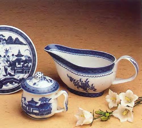 Mottahedeh Blue Canton Round Tile, Pot de Creme and Sauce Boat