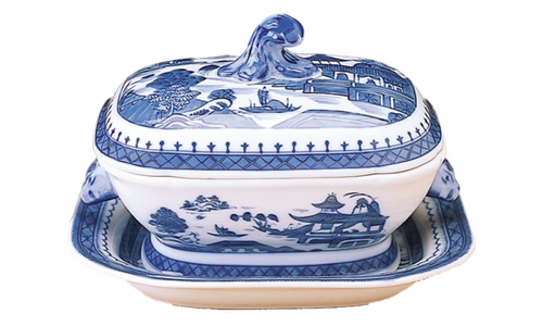 Mottahedeh Blue Canton Sauce Tureen and Stand