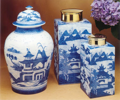 Mottahedeh Blue Canton Ginger Jar with Large and Small Tea Jars