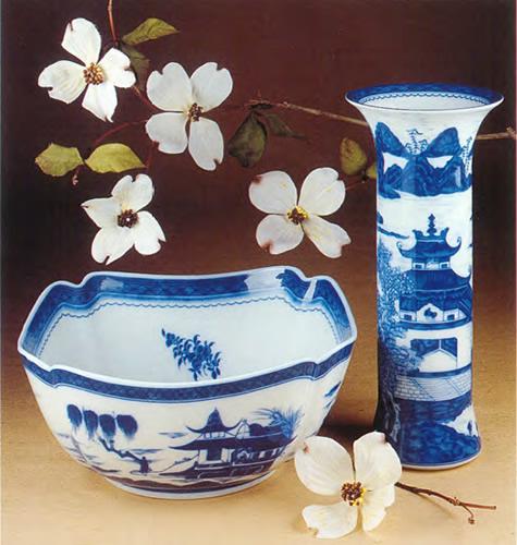 Mottahedeh Blue Canton Large Square Bowl and Trumpet Vase