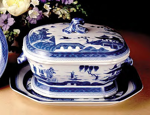 Mottahedeh Blue Canton Octagonal Tureen and Platter