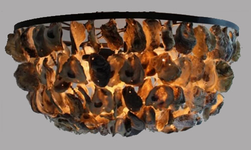 The Kings Bay TKB-OYSTLNG5-K Large Oyster Shell Ceiling Light What they look like with the lights on