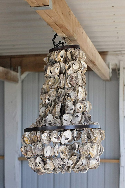 Creative Co-op DA3151 Small 2-Tier Oyster Shell Chandelier